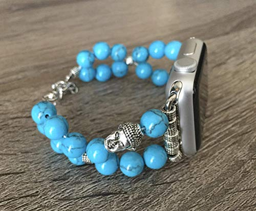 Blue Turquoise Stones Bracelet For Apple Watch All Series 38mm 40mm 42mm 44mm Handmade Natural Jasper Beads Apple iWatch Band Silver Buddha Head Charm Fashion Jewelry Bangle Apple Watch Bracelet