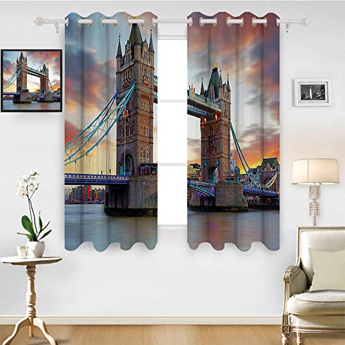 SATVSHOP Textured Blackout Curtains - 120W x 72L Inch-London The Big Ben and The tminster Bridge at Night in UK Street iver European Look Photo Grey Yellow. -