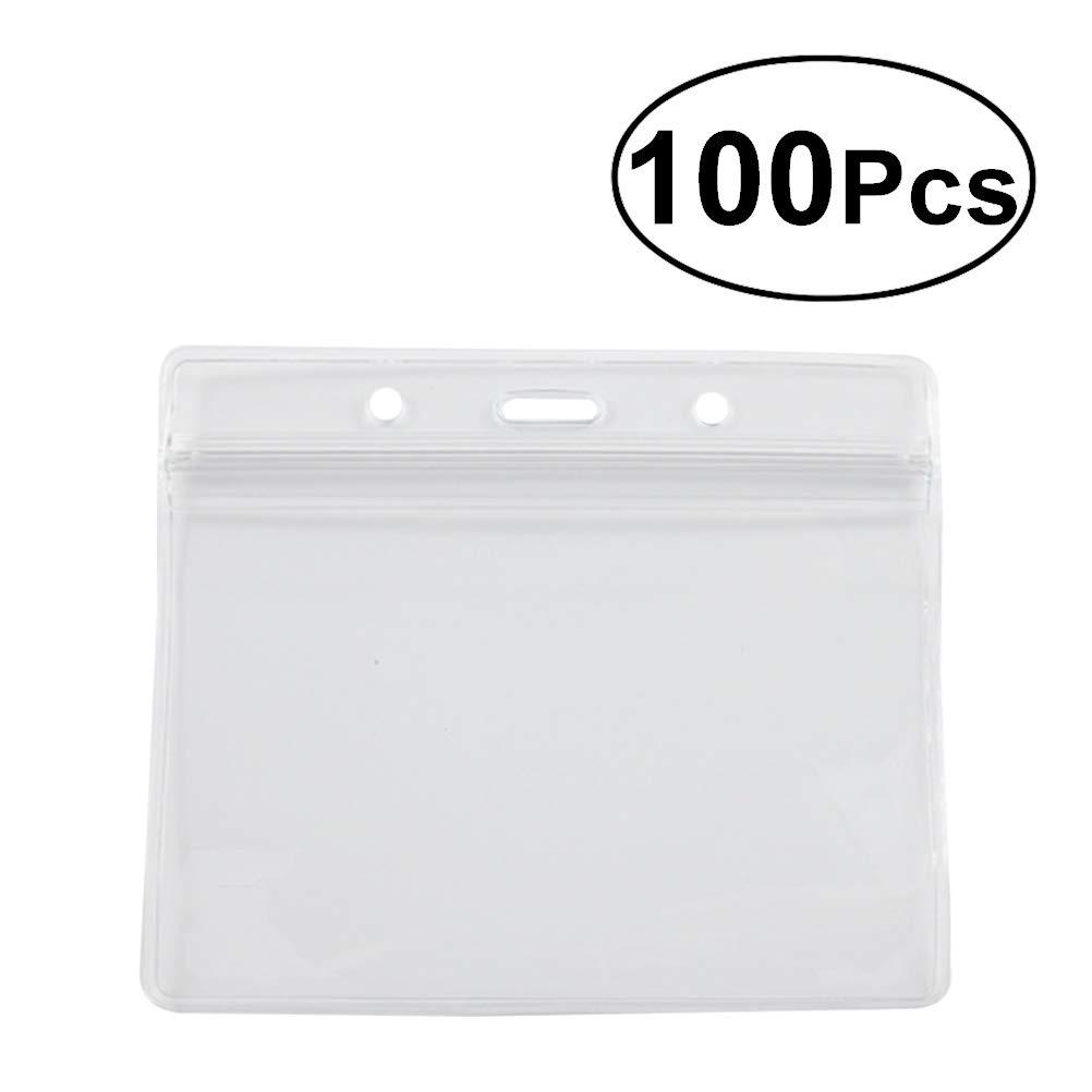 YeahiBaby Nombre Etiqueta Horizontales Transparente Impermeable con Clips de 100pcs Metal para Oficina 100pcs de c5113c