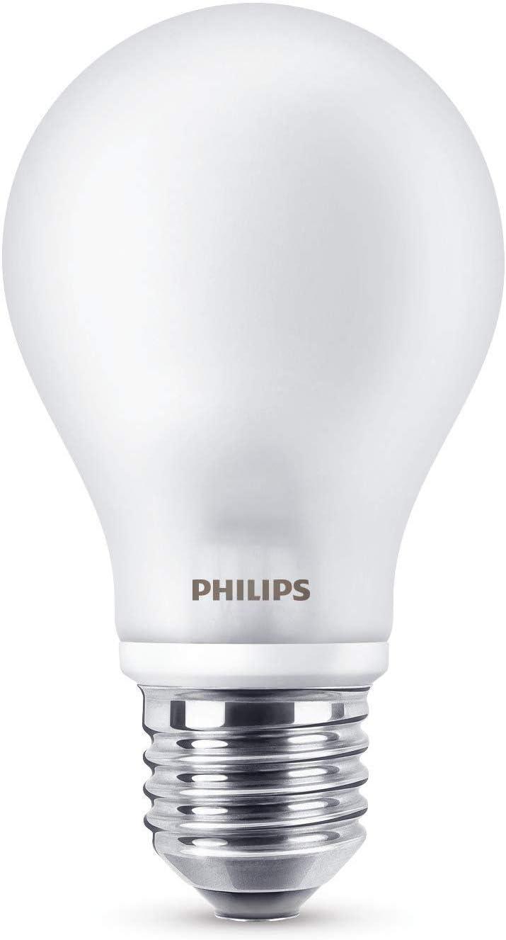 Philips Bombilla LED esférica E27, 7 W equivalentes a 60 W en incandescencia, 806 lúmenes, luz blanca cálida