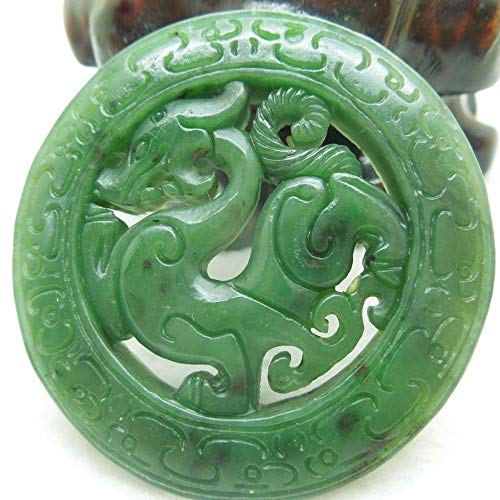 Zhiming Natural and Hetian Jade Antique Dragon Pendant Jade Double-Sided Hollow Technology ()