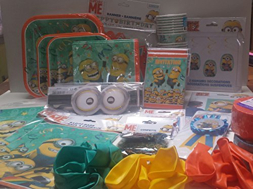 Deluxe Minion Party in Box for 16..Plates, Napkins, Cups, Balloons, Streamers, Candle and MUCH More! by Unique