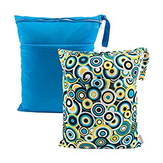 ALVABABY 2pcs Cloth Diaper Wet Dry Bags Waterproof Reusable with Two Zippered Pockets Travel Beach Pool Daycare Soiled Baby Items Yoga Gym Bag for Swimsuits or Wet Clothes L0910
