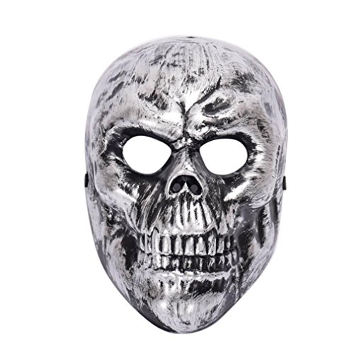 Silver Skeleton Child Costumes (NXDA Skeleton Plastic Mask Horror Novelty for Halloween Costume Party Decorations (Silver))