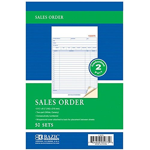 Bazic Products Carbonless 2 Part Sales Order Forms, 12 Books - 50 Sets Per Book