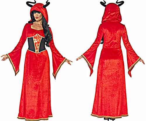 Smiffy's Women's Demonic Queen Costume, Dress and Attached Horns, Legends of Evil, Halloween, Plus Size 18-20, 43725