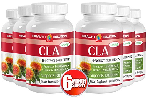 Cla safflower oil pills - CLA 1250mg - reduction in body fat (6 bottles) by Health Solution Prime