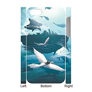3D Cases For iPhone 4/4s, flying whale fortress Cases For iPhone 4/4s, Tyquin White