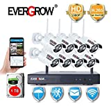 [Smoother Video Coding-H.265] Security Camera System Wireless, EVERGROW 8 Channel 1080P Security Camera System with 8pcs Wireless Security Camera, 1TB Hard Drive Pre-Installed, Plug and Play