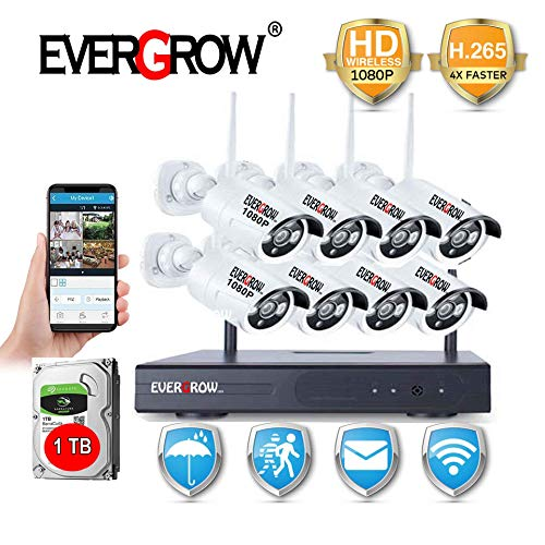 H.265 Faster Video Transfer Wireless Security Camera System, EVERGROW 8 Channel 1080P WiFi NVR Home Security System 8pcs Outdoor IP Security Camera, 100ft Night Vision, 1TB HD CAM-WIFI-8CH-2MP-1