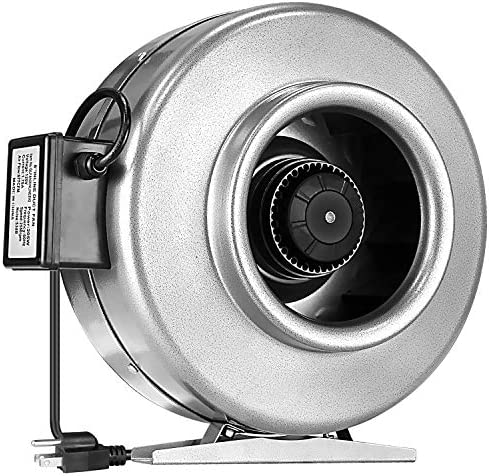 iPower 8 Inch 680 CFM Inline Duct Fan Ventilation HVAC Vent Blower Fan for Grow Tent, silver