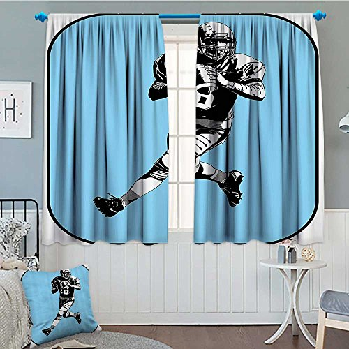 SeptSonne-Home Sports Decor Window Curtain Drape American Football League Game Rugby Player Run Original Kitsch Retro Illustration Decorative Curtains for Living Room 52