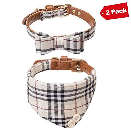 (EXPAWLORER Bow Tie Dog Collar, 2 Pack Classic Plaid Adjustable Collars Bowtie Bandana for Medium Dogs)
