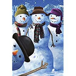 Toland Home Garden Snowman Photobomb 12.5 x 18 Inch Decorative Funny Winter Snow Family Photo Garden Flag