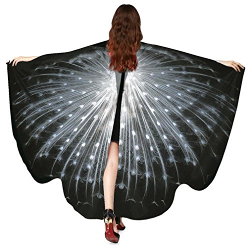 Women Butterfly Wings Shawl Scarves Pixie Party Cosplay Costume Accessory (Peacock Black White) -
