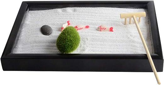 VOSAREA Mini Jardín Zen de Escritorio Bandeja de Jardín Zen con Rastrillos de Arena Piedra Natural