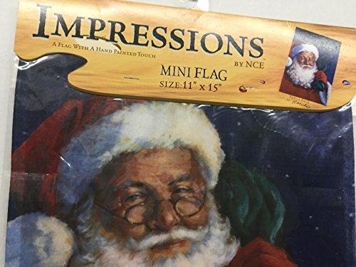 Impressions Santa Face 11 x 15 Decorative hand painted Mini Flag ()