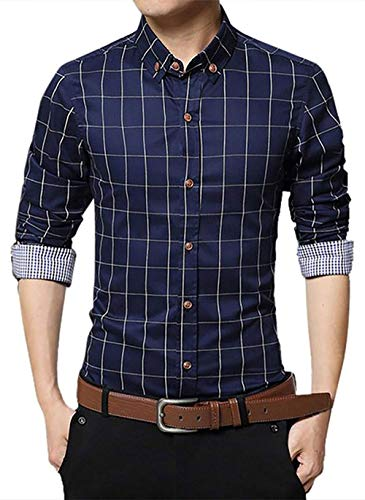 XinnanDe Mens Checked Button Down Plaid Long Sleeve Dress Shirt Deep Blue XL