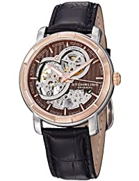 Stuhrling Original Mens 169.33R569 Classic Delphi Automatic Skeleton Brown Dial Watch