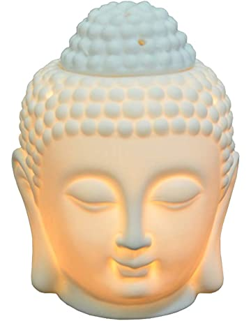 Moylor - Quemador de aceite de cerámica translúcida, difusor de aromaterapia con forma de cabeza