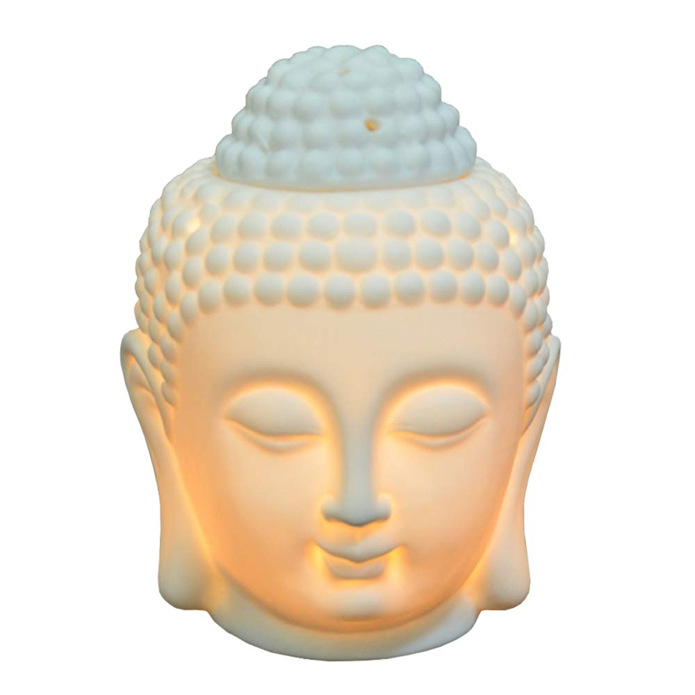 Buddha Head Statue Oil Burner Translucent Ceramic Aromatherapy Diffusers for Mother's Day Gifts and Home Decor - White Moylor