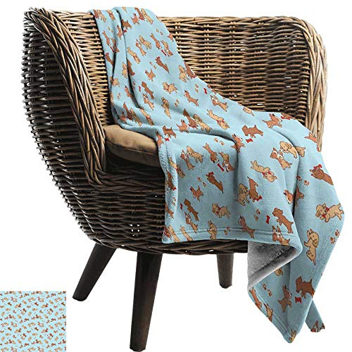 (BelleAckerman Camping Blanket,Dog,Checkered Square Pattern Background Playful Puppies Paw Print Golden Retriever Breed,Multicolor,Flannel Blankets Made with Plush Microfiber 30