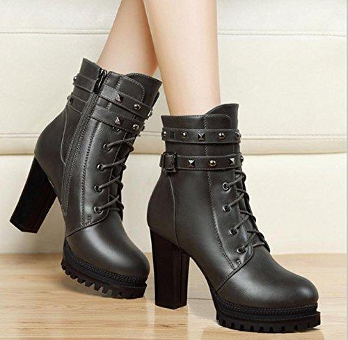 testa con Le spessore scarpe stivali 35 rivetti di moda NSXZ rotonda nuove COLOR di 35 qzSXwWB