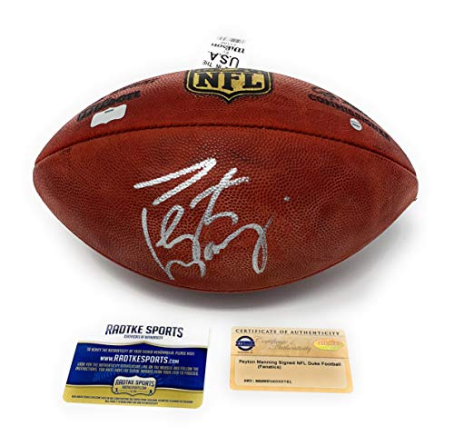 Peyton Manning Indianapolis Colts Denver Broncos Signed Autograph Authentic NFL Duke Football Radtke Sports & Steiner Sports Certified