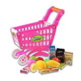 Robolife Little Kids Pretend House Toy Playset Supermarket Shopping Cart with Full Grocery Food (Pink)