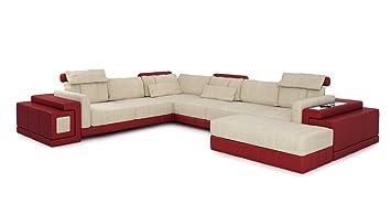 Xxl Wohnlandschaft Creme Weinrot Leder Stoff Sofa Couch U Form