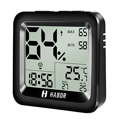 Habor Digital Hygrometer Indoor Thermometer High Accuracy Indoor Temperature Humidity Monitor with Comfort Level Icon Table Standing Wall Hanging for Home, Car, Office, Greenhouse, Babyroom