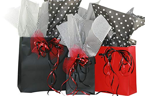 Eurotote Gift Bag Assortment with Coordinating Tissue Paper and Ribbon - 16 Pieces (Black and Red)