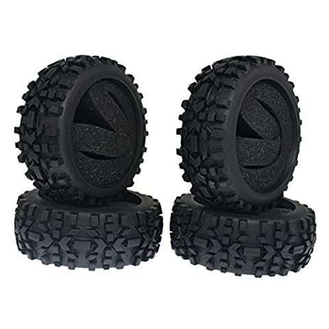 4Pieces Rubber RC 1/8 Scale Off Road Buggy Tires With Foam Inserts OD:116mm ID:80mm Width:42mm For Redcat HSP Off - 1/8 Buggy