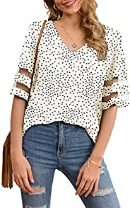 Jouica Women's V Neck Chiffon Blouse Mesh Panel Blouse 3/4 Bell Sleeve Loose Top S
