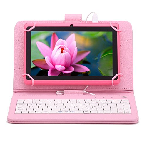 IRULU X1s HD TFT Display7 inch Google Android 4.4 Tablet With Keyboard Case 41.5GHZ Quad core Dual Camera Google Play Pre-load 8GB Storage Pink with Pink Keyboard Case