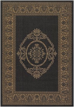 Couristan 1078/3115 Recife Antique Medallion Black Cocoa Rug, 7-Feet 6-Inch Round (Rug Antique Floral Round)