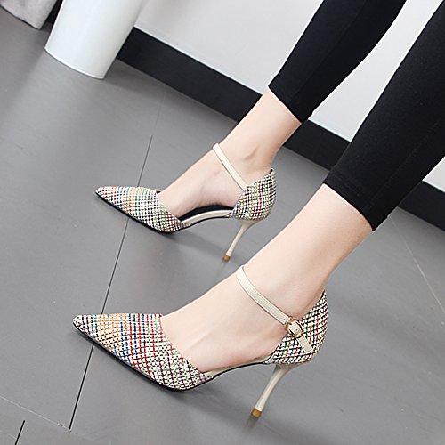 Xue Qiqi high-heel Schuhe Frauen schlitz Raster zum Andocken an die Spitze des hohlen und stilvolle einzelne Schuhe Beige