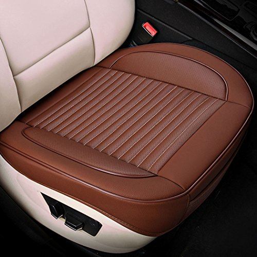 MLOVESIE Universal Car Interior Front Seat Cover PU Leather Edge Wrapped Seat Cushion Protector (1 pc Brown)