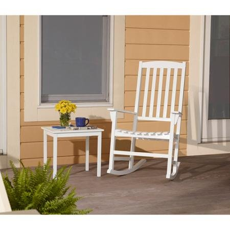 Outdoor Patio Rocking Chair. Classy Garden Solid Hardwood Furniture for Your Gazebo or Porch. Put This Seat on Your Deck Lawn or in a Conservatory. The White Rocker with a Wide Back Will Ensure Ultimate Comfort. Made From Weatherproofed Wood.