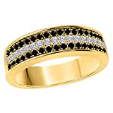 DreamJewels 6MM 14K Yellow Gold FN Alloy 0.50CT Black Sapphire & White Cz Diamond Ring 3 Row Pave Men's Hip Hop Anniversary Wedding Band Ring Size All Available