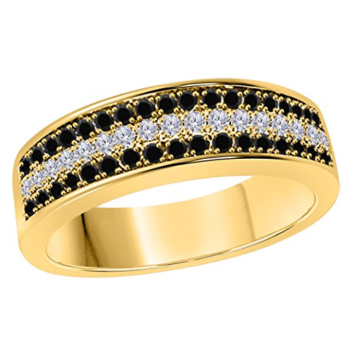 DreamJewels 6MM 14K Yellow Gold FN Alloy 0.50CT Black Sapphire & White Cz Diamond Ring 3 Row Pave Men's Hip Hop Anniversary Wedding Band Ring Size All Available by DreamJewels