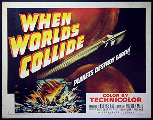 WHEN WORLDS COLLIDE GEORGE PAL SCIENCE FICTION 1951 HALF-SHEET ROLLED