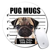 Personalized Round Mouse Pad, Printed Pug Mugs Pattern, Non-Slip Rubber Comfortable Customized Computer Mouse Pad (7.87x7.87inch)