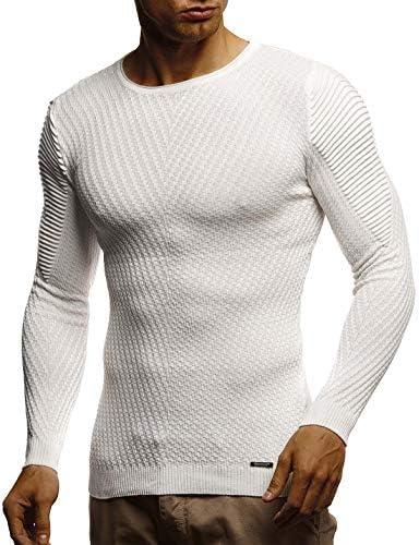 Leif Nelson suéter de Jersey de Punto Fino de Cuello Redondo de los Hombres de LN-1840 Color Crudo XX-Large