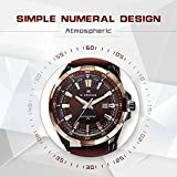 Mens Quartz Watch with Leather Band Unique Business Dress Analog Watches Large Casual Luminous Hands Waterproof Wristwatch - Brown