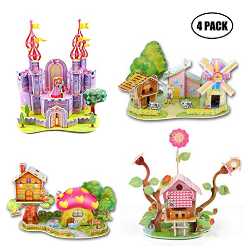 3D Puzzle DIY Building Model Craft Kits for Ages 3-5 5-8 8-10 10-12 Year Old Girls Kids Boys,Colorful Castle Windmill Houses Cardboard 3D Puzzle Toys for Girl boy Gift