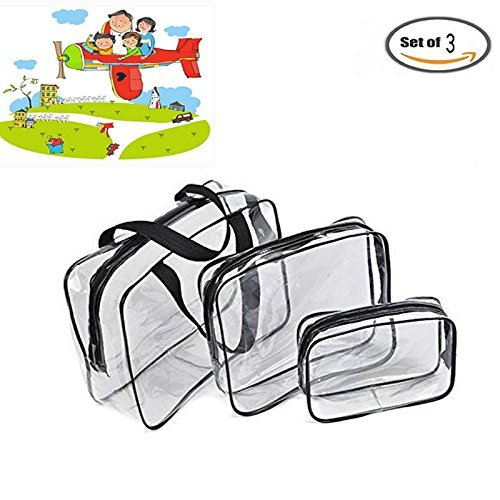 IDS 3 Pack Clear PVC Toiletry Bag Set with Zipper for Vacati