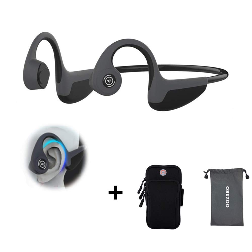 Bone Conduction Headphones, Open Ear Bluetooth Wireless Headsets 37g Lightweight Sweatproof Sport Headphones for Safe Plogging Running Driving Cycling Compatible with iPhone Samsung Huawei(Black)