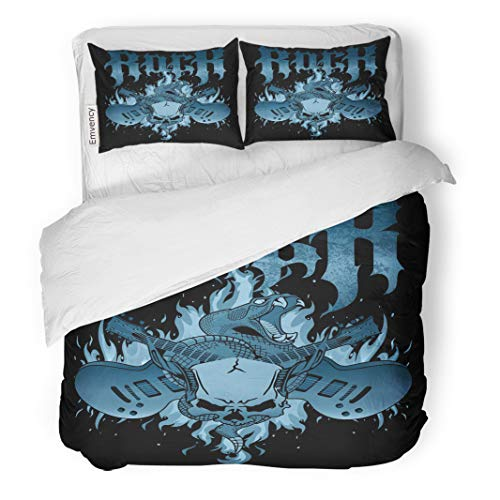 Semtomn Decor Duvet Cover Set Twin Size Music Rock Flames Crossed Guitars Rattle Snake and Horned 3 Piece Brushed Microfiber Fabric Print Bedding Set Cover -