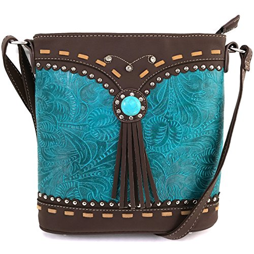 Justin West Tooled Western Leather Turquoise Stone Fringe Studded Shoulder Concealed Carry Handbag Purse (Turquoise Messenger)